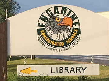 Entrance sign for Engadine Colsolidated Schools and Library