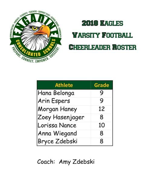 2018 Football Cheerleader Roster